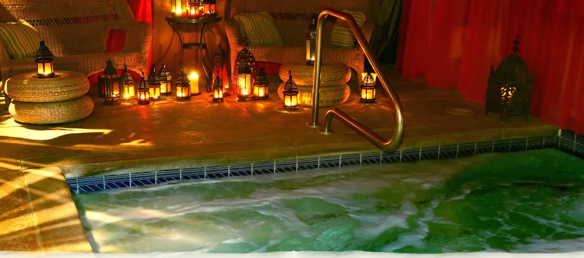 El Morocco covered Jacuzzi-style spa with glowing lanterns