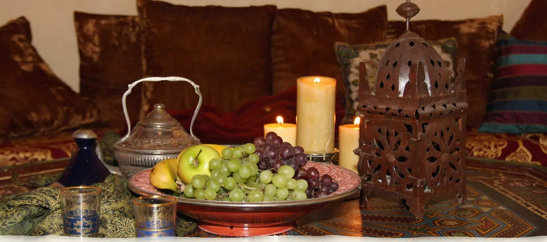 El Morocco Inn Lounge with fruit bowl and candles