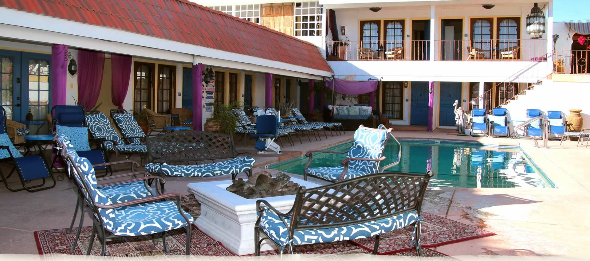 El Morocco Inn  pool and firepit